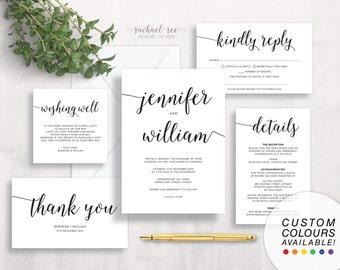 Black & White Wedding Invitation Set | Printable Wedding Suite | Simple, Modern, Save The Date, RSVP, Response, Thank You, Details, Menu
