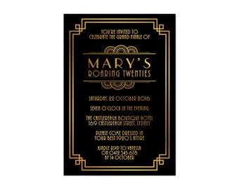 Printed Birthday Invitations   'Gatsby'   Roaring 20s 1920s Black & Gold