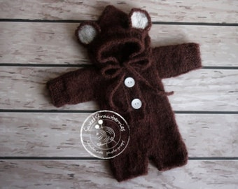 Sitter size photo props, Bear Hooded Overalls,9-12 Months,Brown outfit,Sitter size outfit,Teddy outfit,Mohair outfit,,Photo props,Mohair
