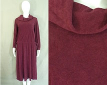 60%OFF Aug26-29 70s terrycloth dress, size large, maroon burgundy, cowl neck, day dress, casual mod preppy, a-line dress, 1970s mad men