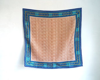 tribal scarf, southwestern scarf, square scarf, 70s scarf, 1970s scarf, made in japan, tribal ascot, mad men, blue brown gold