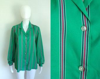 70s striped blouse green button down shirt collared blouse pinstripe blouse secretary blouse lightweight striped top womens shirt large