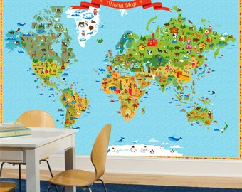 World map, Kids World Map with Funny Animals and Illustration Wallpaper, Funy World Map, Full Covering Wall Mural