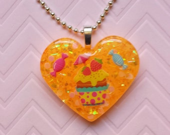 Candy Necklace, Candy Pendant, Candy Jewelry, Ice Cream Necklace, Ice Cream Pendant, Resin Heart Necklace, Resin Necklace, Resin Jewelry