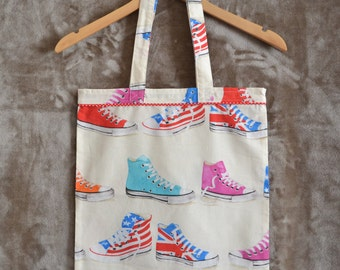Tote bag in cotton cream, red, blue