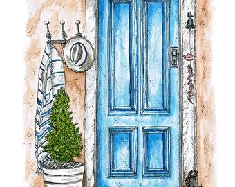 The Blue Door - MOUNTED, Fine Art Print