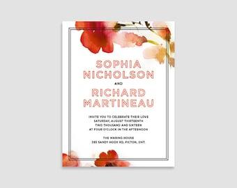 Floral Wedding Invitation - Sophia Wedding Suite - Printable, red, orange, floral, watercolour, wedding invite
