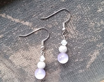 Purple Beaded Drop Earrings, Handmade Earrings, Dangle Earrings-Ready To Ship