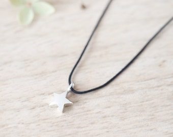 Star String Necklace 925 Sterling Silver Tiny Star Charm