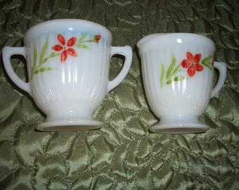 MacBeth-Evans Petalware Hand Painted Florette Sugar and Creamer
