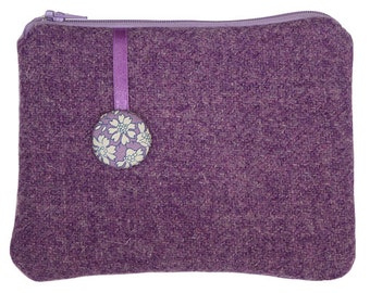 Harris Tweed Purple Purse, Liberty Capel, Amethyst, Lavender, Pouch, Wallet, Wool Pouch, Wool Card Wallet, Gifts for Neighbours, Girl Gifts