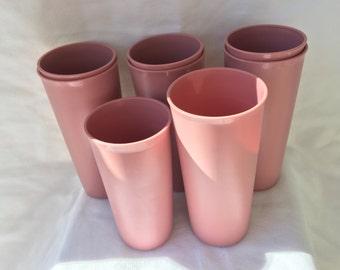Vintage Rose Pink Tupperware Nesting Tumblers 115 & 116 - 8 pcs