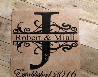 12x12 ceramic monogrammed tile wedding tile monogrammed split letter monogram