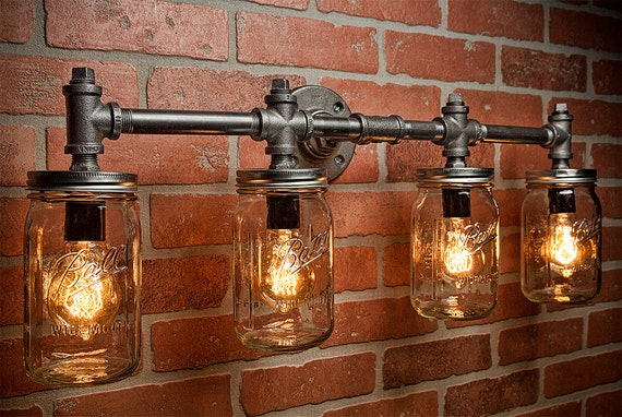 Rustic Industrial Modern Mason Jar Lights Vanity Light: Industrial Lighting Lighting Mason Jar Light Steampunk