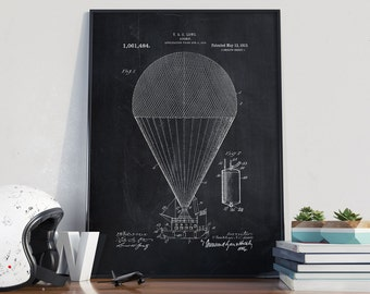 Air Ship Patent Print, Air Balloon Patent Art, Hot Air Balloon Patent, Air Balloon Blueprint, Patent Prints - DA0172