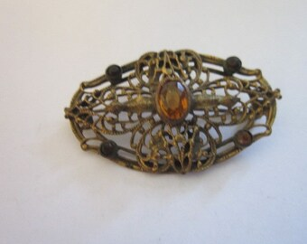 Antique Art Deco Flapper Girl Filigree Brooch with Amber Stones