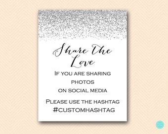 Personalized Hashtag Sign, Silver Glitter Bridal Shower Decoration Sign, Silver bridal shower sign, Silver baby shower sign SN28 BS89