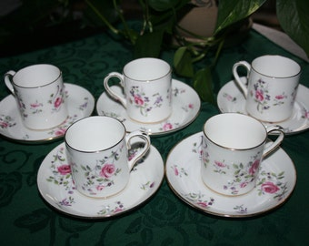 Vintage Crown Staffordshire China Demitasse and Saucer F4295 circa 1930 set of 5
