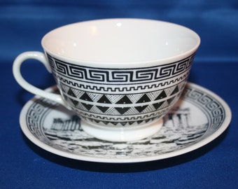 Vintage Hand Made and Painted Greece Souvenir Teacup & Saucer Artist Signed Tea Cup by Kepameikh Apikh Texnh