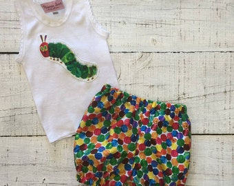 Heaven Sent Handmade baby singlet shorts shorties the very hungry caterpillar baby shower gift size 000