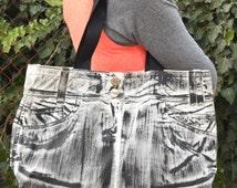 Black Denim Bag / Recycled Shoulder Bag / Jeans Handbag / Boho bag / Upcycled Bag / Denim Handbag / Denim Purse