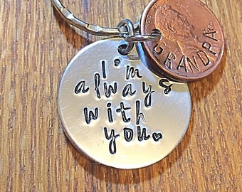 I'm Always With You - Penny Keyring - Hand Stamped Penny - Pennies From Heaven - Memorial Gift - Remembrance Gift - Penny Keychain