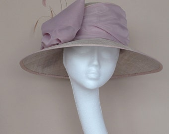 Grey and pink wedding hat. Grey small brim wedding hat Derby hat. Ascot hat. Feather hat.
