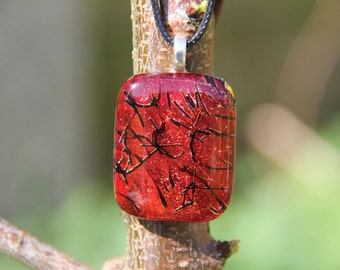 Deep red and black dichroic glass pendant, red dichroic glass necklace, fused glass,  fused glass pendant, dichroic necklace , ,