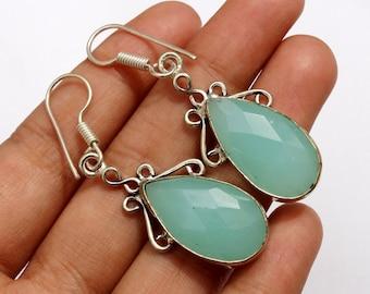"1 Pair 2  1/2 ""  Aqua Chalcedony Earrings, Handmade Earrings, Faceted Pear Gemstone Earrings, Handmade Jewelry, Silver Earrings ER19"