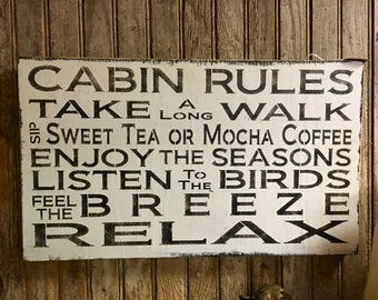 Cabin Rules Wall Art Decor Farmhouse Vintage Style Fixer Upper Style Sign Rustic Sign Wood Sign Handmade Made To Order Cabin Decor