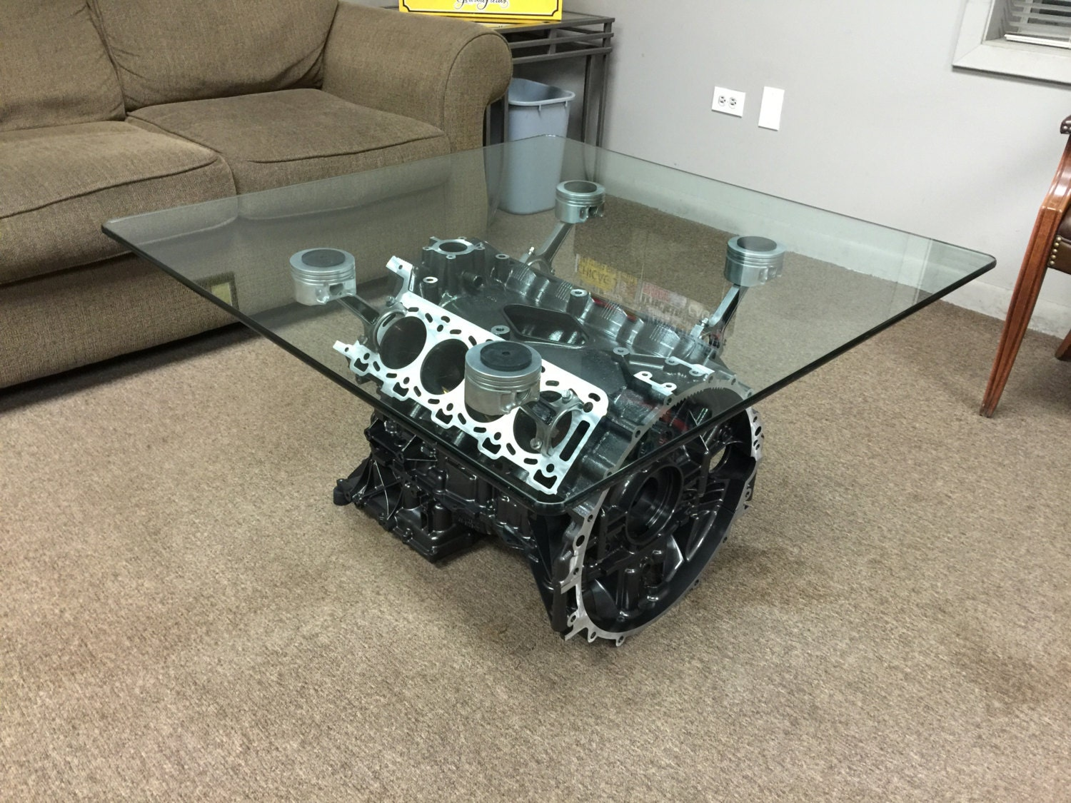 v8 engine block coffee table. Black Bedroom Furniture Sets. Home Design Ideas
