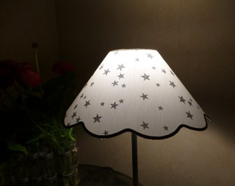 Lampshade, Star, silver, white, grey... Lampshade, star, white, grey, silver