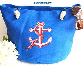 Nautical Large Beach Bag. Anchor Print Beach Bag/Tote/Purse.Canvas Large Tote Bag.Red, Blue and White Beach Bag/Tote.Beach Vacation Bag/Tote
