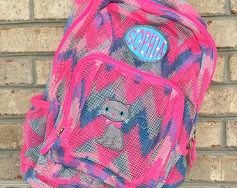 Monogrammed Backpack | Mesh Backpack | Back to School | Girls Backpack | Cat Backpack | Book Bag | Kids Backpack | School Bag | Backpack