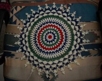 Beautiful Hand Crocheted Doily Mandala Red White Green HI-300