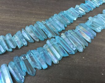 Aura Blue Crystal Points Matte Blue Quartz Point Beads Graduated Mystic quartz beads Raw Crystal Top Drilled Gemstone point 5-8*20-45mm