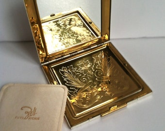 Vintage Zell Fifth Avenue Powder Compact with Mirror, Original Box, Vintage  Powder Compact, Gold & Silver Tone Compact 1950s Square Compact