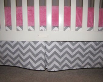 Gray Chevron Crib Skirt