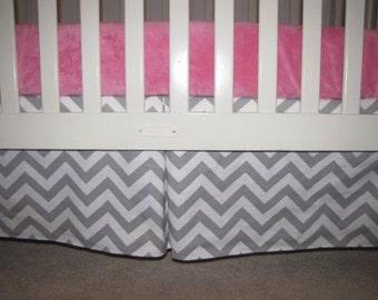 Gray Chevron Crib Skirt