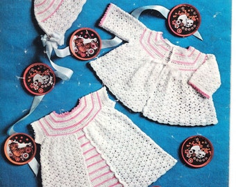 """PDF Crochet Pattern-Baby Crochet- dress- jacket and hat in 3 ply- fits 18"""" chest"""