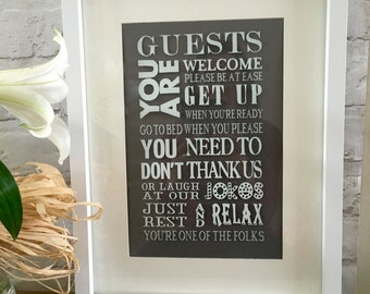 Guest room art. Guest room subway art. Framed guest art. Welcome guests. Guest bedroom decor. Typography art. Guest room sign. Be our guest