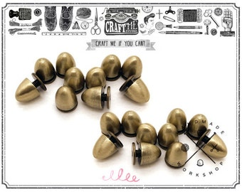 10PCS 8MM BRUSH GOLD Tree Cone Spike Stud CONICAL Screw back Studs