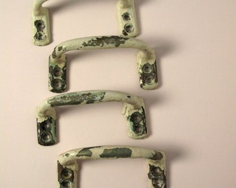1900s 4 antique drawer handles, dresser pulls, cream and mint green varnished metal steel, shabby chic, peeling paint, Made in Holland
