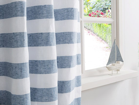 Linen Curtain Striped Curtain In Blue And White Color-Linen