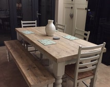 Farmhouse dining table with reclaimed wood top and bench, made to measure custom, restaurant shabby chic farrow & ball painted 6 or 8 seater