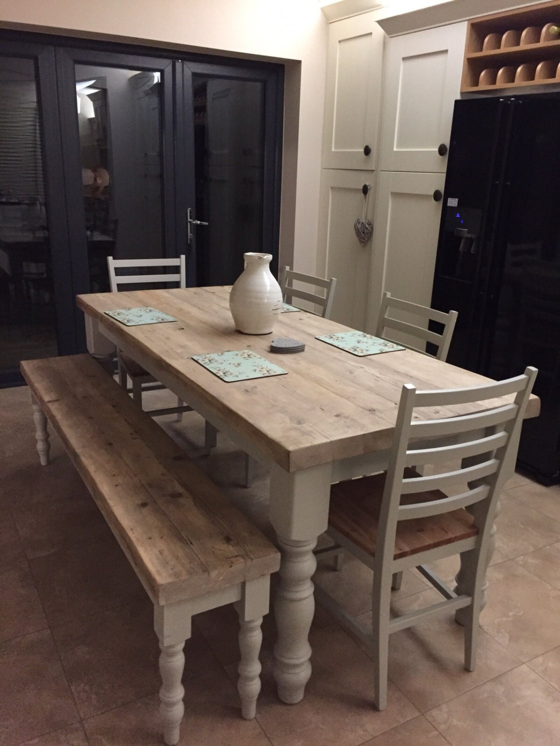 Farmhouse dining table with reclaimed wood top and bench made Breakfast table with bench