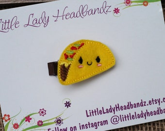 Taco hair clip taco feltie - felt taco toddler clip girl clip - no slip grip hair barrette