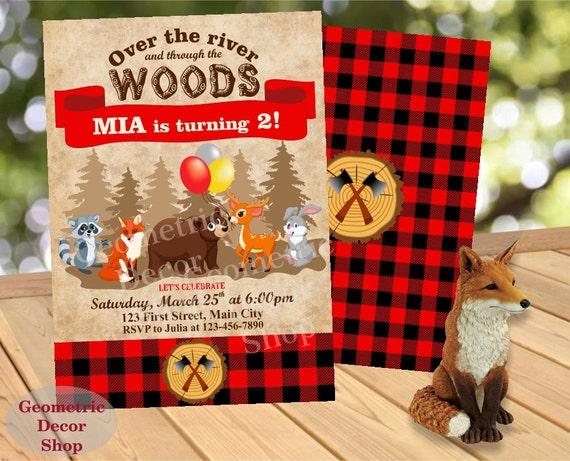 ... 1st Birthday Boy Girl Fox Deer Bunny Bear Red Lumber BDLJ24 on Etsy