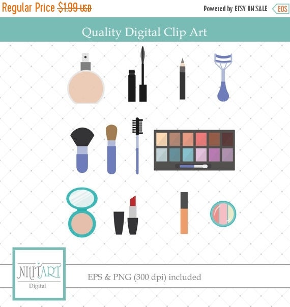 50% OFF SALE Make Up Clipart, Make Up Tools, PNG Clipart, Scrapbook Clipart Cl 009