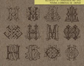 Sale! Vintage Monograms. Letters. Ornamental type. Stencil, Typeface. Font. Vector EPS, AI, PNG, Jpeg, illustration, silhouette icons gothic